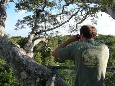 페루 환경보호 프로젝트 봉사자들이 조류 관측을 하고 있다