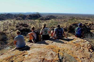 남아프리카 보츠와나 언덕에서 내려다보는 아름다운 풍경