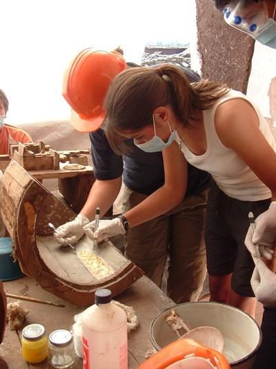 고고학 프로젝트에서 유물 유적 탐사활동을 하는 봉사자들