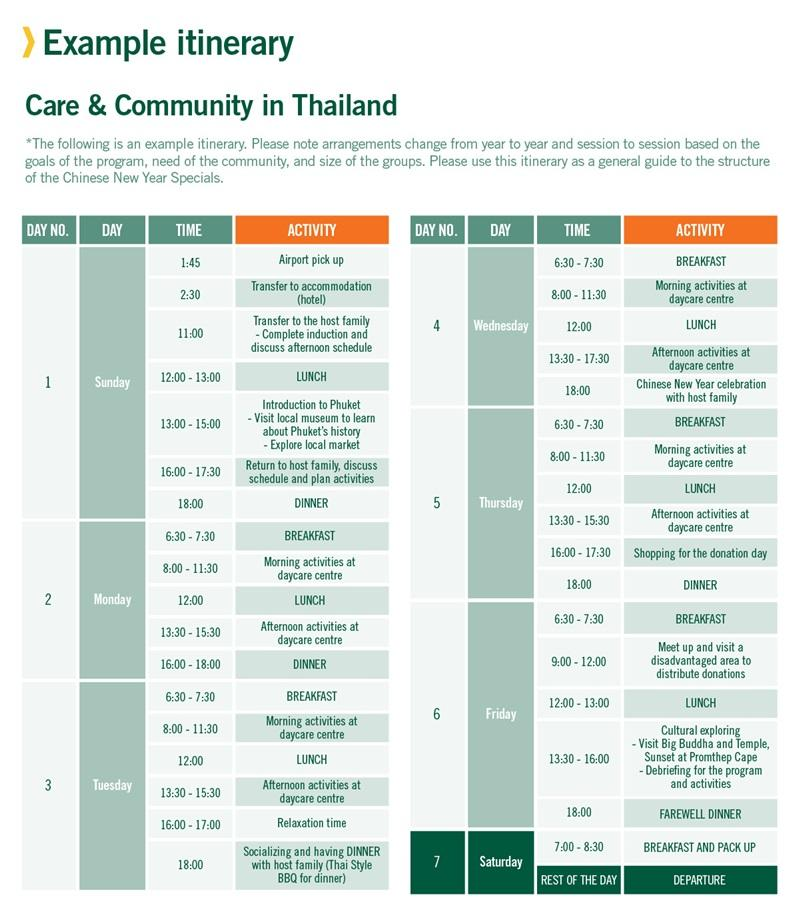 Chinese New Year Specials sample schedule for Care in Thailand