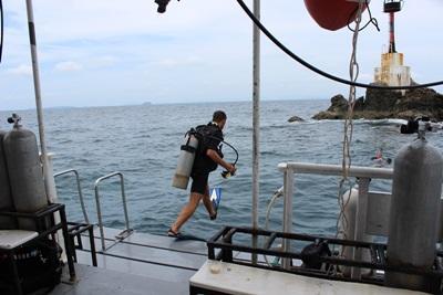 환경보호 프로젝트 봉사자들이 다이빙 활동에 참여중이다