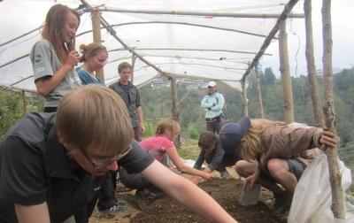 네팔 환경보호 프로젝트 봉사자가 히말라야 지역 동식물 연구를 하고 있다