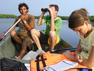 멕시코 환경보호 프로젝트 봉사자가 보트에서 생태계 환경을 관찰중이다
