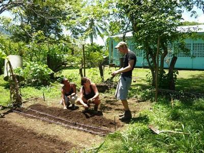 코스타키라 환경보호 프로젝트 봉사자가 토양 보호 활동을 하고 있다