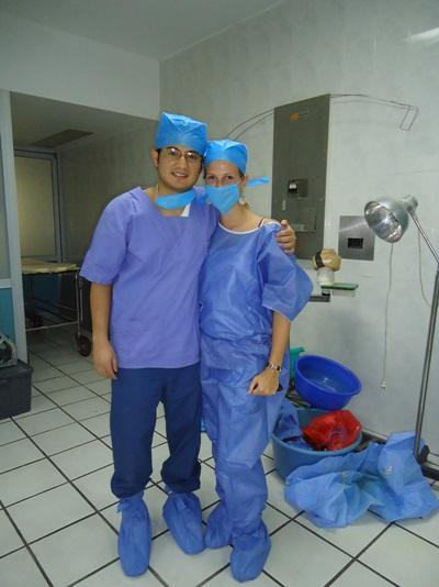 멕시코의 병원에서 활동하는 의료선택 인턴