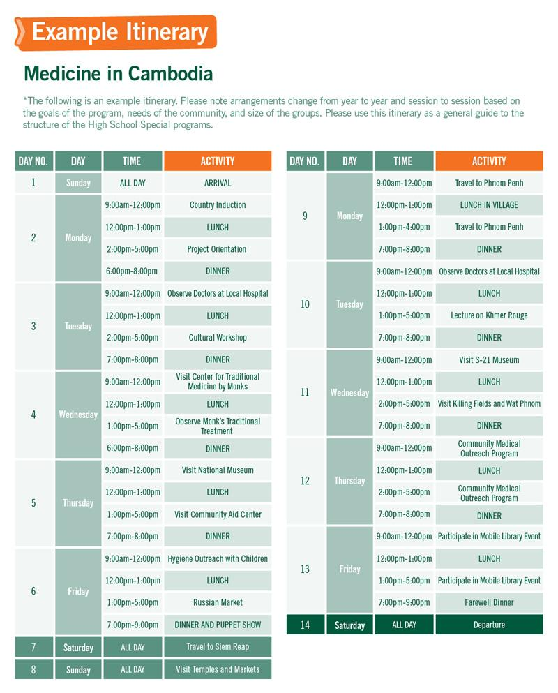 High School Special sample schedule for Medicine in Cambodia
