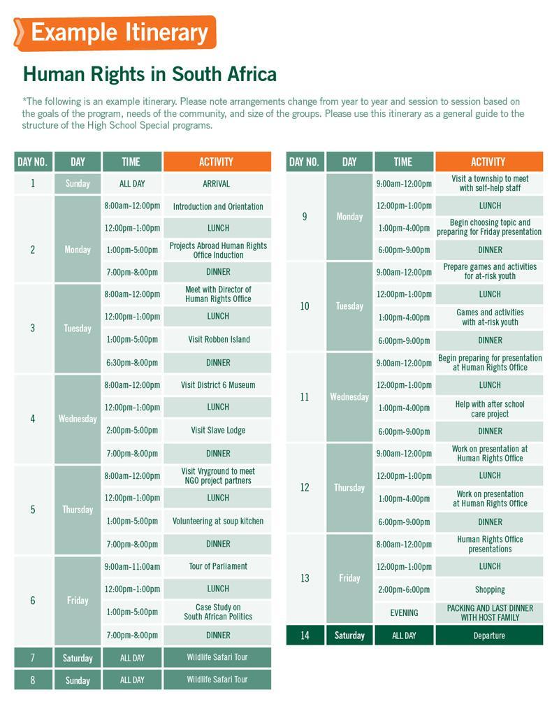 남아공 고교생 인권 프로젝트의 샘플 일정