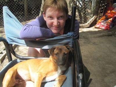 봉사자가 아르헨티나의 동물보호센터에서 병든 개를 돌보고 있다